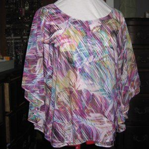 Jennifer Lopez Multi-color Butterfly Sleeve Blouse